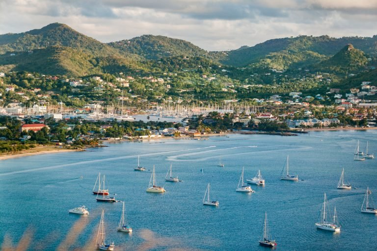 sailing yachts and motor vessels anchoring in Rodney Bay on caribbean tropic island of St.Lucia, windward Islands, West Indies