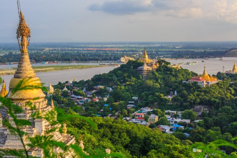 Old capital Sagaing at twilight, Sagaing, Myanmar