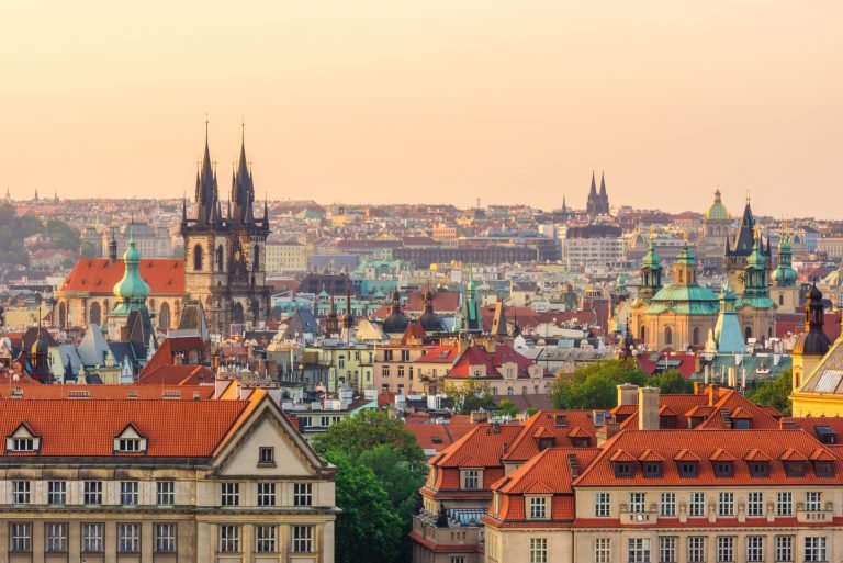 Skyline view of Prague in the morning. Czech Republic