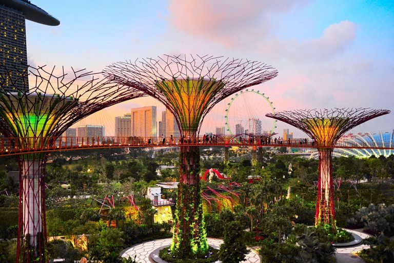 Singapore, Republic of Singapore - March 05, 2013 : Gardens by the Bay at dusk in Singapore. Gardens by the Bay was crowned World Building of the Year at the World Architecture Festival 2012